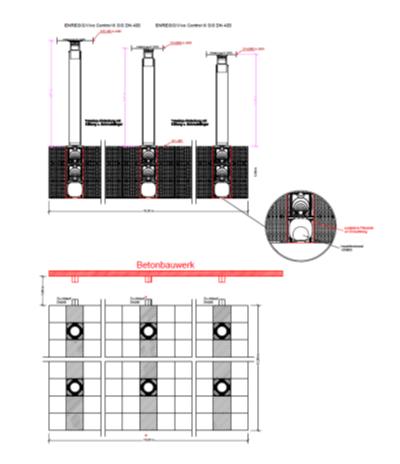 Enregisin kaseteista koostuvan lisäviivytysaltaan pohjapiirros