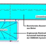 Nykyinen betoninen viivytysallas ja lisärakenne vierekkäin